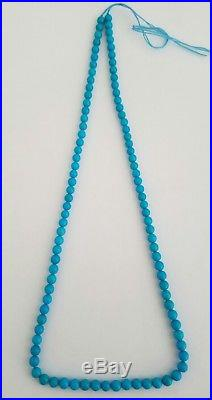 One Strand Natural Sleeping Beauty Turquoise Round 4.5-5mm Beads Necklace