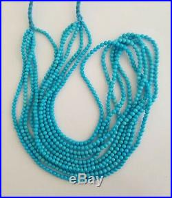 One Strand Natural Sleeping Beauty Turquoise Round Beads Necklace 2.5-3mm