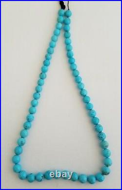 One Strand Natural Sleeping Beauty Turquoise Round Beads Necklace 8-8.5mm