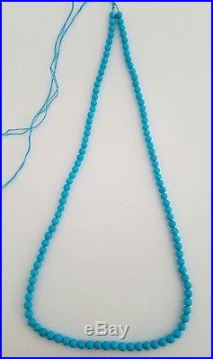 One String Natural Sleeping Beauty Turquoise Round 4-4.5mm Beads Necklace