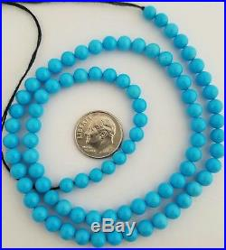 One String Natural Sleeping Beauty Turquoise Round 5-5.5mm Beads Necklace