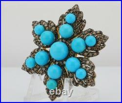 One of a kind Levian piece / 32 CT diamond & AAA sleeping beauty Turquoise / 14K