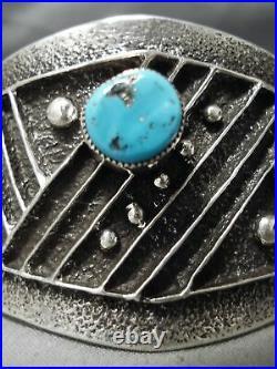Ornamental Navajo Sleeping Beauty Turquoise Sterling Silver Bracelet
