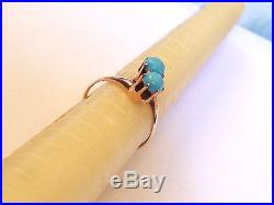 Ostby Barton Prong Set Double Sleeping Beauty Turquoise 10k Ring Excellent Cond