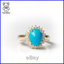 Oval Natural Sleeping Beauty Turquoise Diamond Wedding Engagement Ring 18K Gold