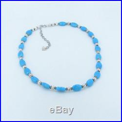PETITE 925 Sterling Silver Natural Blue Sleeping Beauty Turquoise Necklace