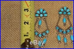 Paul Livingston Navajo Earrings, Sleeping Beauty Drops Turquoise, Sterling, Sign