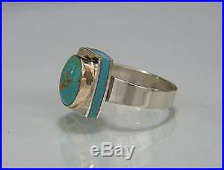 Persian Turquoise. Sleeping Beauty Turquoise. 14K & Argentium Silver. Ring. 7-3/4