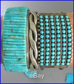 Phenomenal 6 Row Sleeping Beauty Turquoise Old Zuni Snake Eye Row Cuff Bracelet