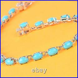 Platinum Over 925 Sterling Silver Sleeping Beauty Turquoise Bracelet Size 7.25