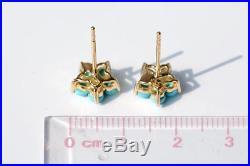 Plum Blossom Flower Sleeping Beauty Turquoise Diamond Stud Earrings 18k Gold