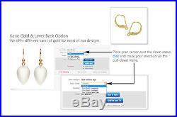 Pure 14k Gold Sky Blue Sleeping Beauty Turquoise Earrings Hook Leverback SB1117