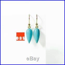 Pure 14k Gold Sleeping Beauty Turquoise Drop Earrings in Hook 8-03
