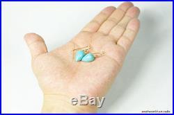 Pure 18k Gold Sleeping Beauty Turquoise Acorn Earrings Hook or Leverback 82616