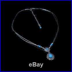 QVC. 925 Liquid Sterling Silver Natural Sleeping Beauty Blue Turquoise Necklace