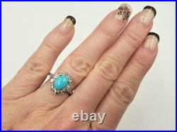 QVC Sleeping Beauty Turquoise White Sapphire Frame Sterling Silver Ring Size 7