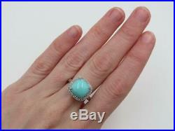 QVC Sterling Sleeping Beauty Turquoise White Sapphire Halo Ring Sz 6.75 Retired