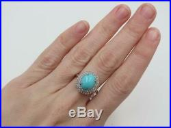 QVC Sterling Sleeping Beauty Turquoise Wt Sapphire Halo Ring Sz 7 Retired