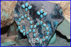 R. P Navajo Bangle Hook Earrings With Sleeping Beauty Turquoise, Signed R. P
