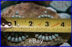 R. P. Navajo Cluster Earrings, Sleeping Beauty, Sterling Silver