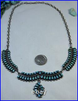 RARE 70s ZUNI Bernall Natewa SLEEPING BEAUTY TURQUOISE STERLING Silver Necklace