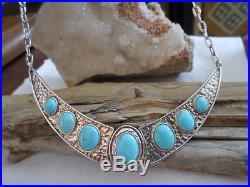 RARE Carolyn Pollack Sterling Sleeping Beauty Turquoise Cleopatra Necklace
