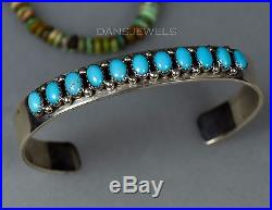 RARE OLD Pawn Vintage Navajo Row SLEEPING BEAUTY TURQUOISE Bracelet