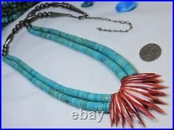 RARE Old KEWA Coriz SLEEPING BEAUTY TURQUOISE STERLING Silver 24-29 Necklace