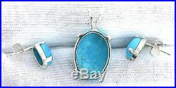 REAL Sleeping Beauty Turquoise Sterling Pendant Earring Gemstone Necklace Set