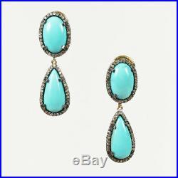 Rare Gems of India Turquoise Diamond Silver 18K Gold Sleeping Beauty Earrings