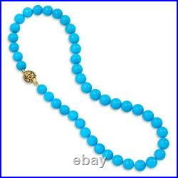 Rare Sleeping Beauty Turquoise Round Bead 20 Necklace with 18K Yellow Gold Over