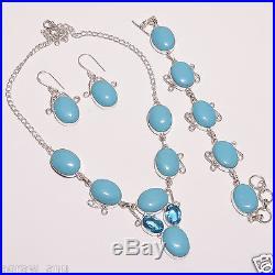 Rare sleeping beauty turquoise necklace bracelet earring set. 925 silver