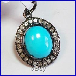 Rhodium Plated Sterling Silver Sleeping Beauty Turquoise Diamond Charm Pendant