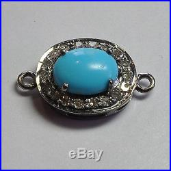 Rhodium Plated Sterling Silver Sleeping Beauty Turquoise Diamond Connector