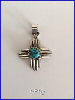 Robert Yellowhorse Navajo Zia Pendant Sterling / Sleeping Beauty Turquoise