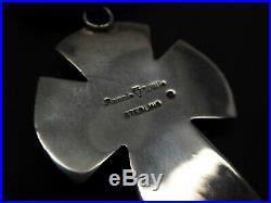 Ronnie Willie Navajo Sterling Silver Cross Sleeping Beauty 5 Std. Necklace 21