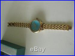 Rose Gold over sterling silver Ecclissi Watch Sleeping Beauty Turquoise Face 925