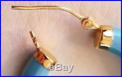 Ross Simons 14k Yellow gold Sleeping Beauty turquoise 1 puffy hoop earrings