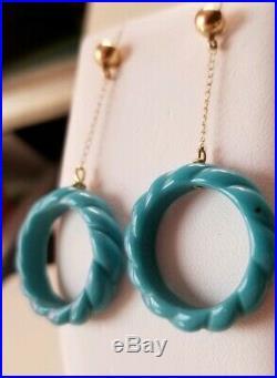 Ross Simons 14k Yellow gold sleeping beauty turquoise 1.75Dangle drop earrings