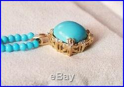 Ross Simons 14k yellow gold turquoise pendant sleeping beauty beaded Necklace