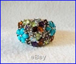 Ross Simons Sterling silver Sleeping beauty turquoise flower gemstone ring