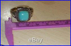 Ross Simons Sterling silver sleeping beauty Turquoise 3 stone bezel wide Ring