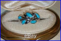 Ross Simons Sterling silver sleeping beauty Turquoise leaf design bezel Ring