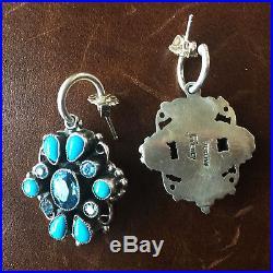Round Dangle Earrings Blue Topaz and Sleeping Beauty Handmade By Leo Feeney