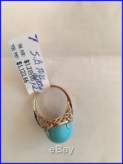 Round Sleeping Beauty Turquoise & Diamond Ring 14K Gold MRSP -$1,122