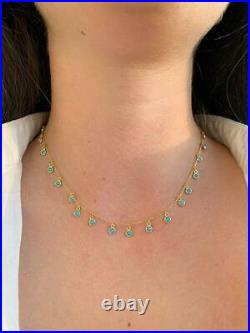 Round Turquoise 18K Yellow Gold Over Boho Mini Dangle Necklace with 18 Chain