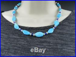 Running Bear Native American Sleeping Beauty Turquoise and Lapis Necklace 18.5