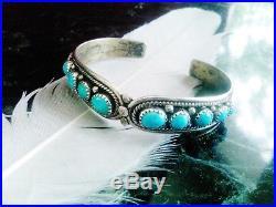 SALE Vtg Signed ELLA COWBOY Navajo Sleeping Beauty Turquoise Sterling Bracelet