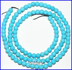 SLEEPING BEAUTY Blue Turquoise (Zachary Method) 4mm Round Ball Beads 16 T612f