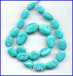Sleeping Beauty Turquoise Flat Oval Pebble Beads 17.5 Strand